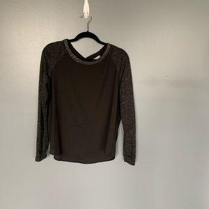 Olivia Moon Jewel Neck Sweater Black Size Small
